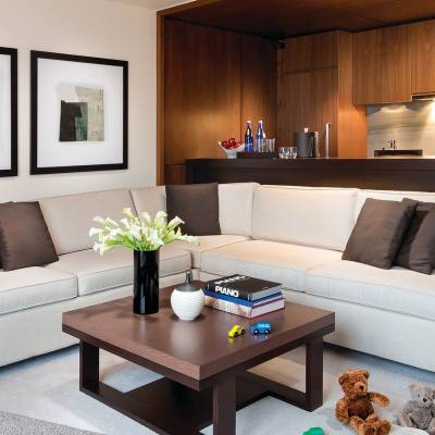 a modern living room with a couch and a table