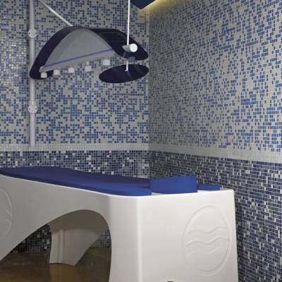 a blue and white tiled floor