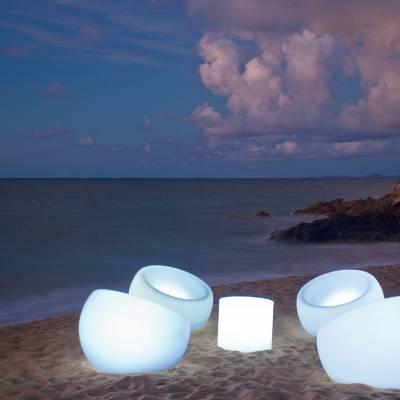 Beach chairs at night