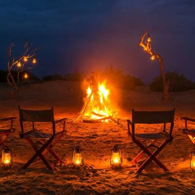 Beach camp fire, Chena Huts