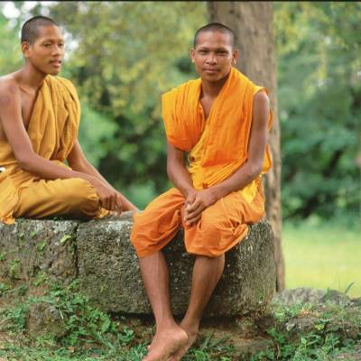 Local monks at Angkor Wat