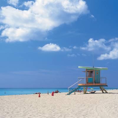 Lifeguard hut on Miami beach