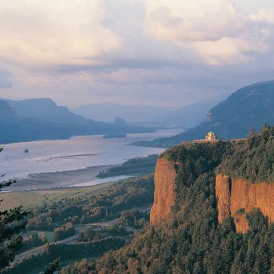 a canyon with Columbia River Gorge in the background