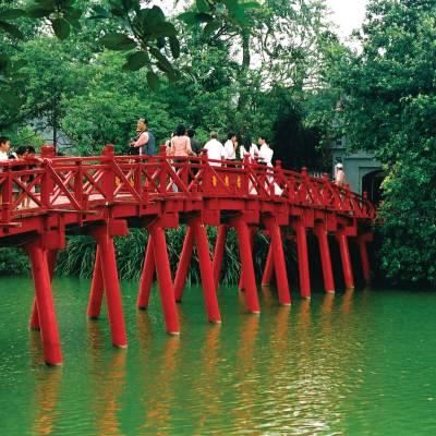 Huc Bridge over Hoan Kiem Lake Hanoi