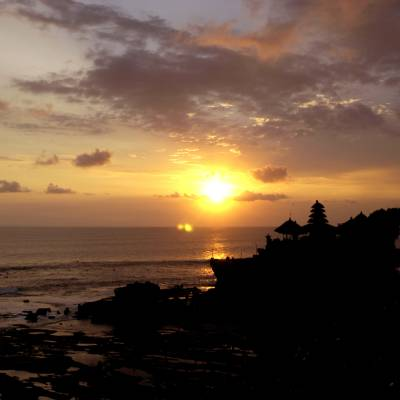 this is a photo of sunset at Tanah Lot Temple