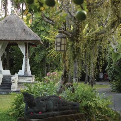 a wooden statue in a garden