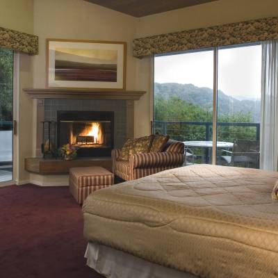 a hotel room with a bed and a fireplace