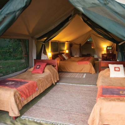 a bedroom with a tent in the room