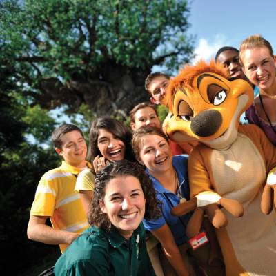 Young guests with Timon at Disney's Animal Kingdom Theme Park