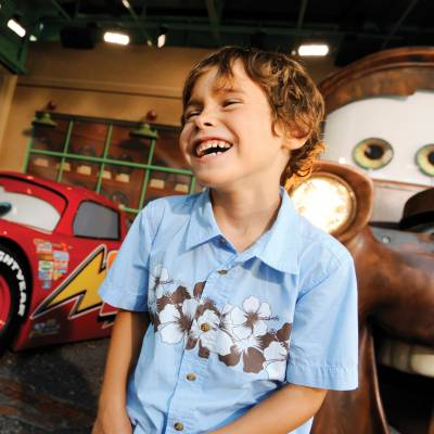Boy with Lightning McQueen & Mater at Disney's Hollywood Studios