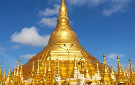 the tower of the city with Shwedagon Pagoda in the background