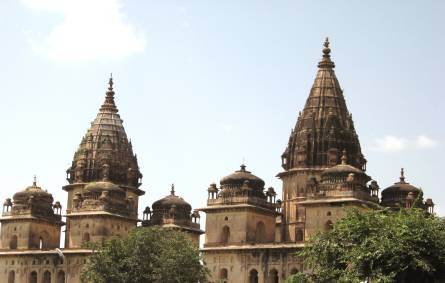 a close up of a church with Khajuraho Group of Monuments in the background