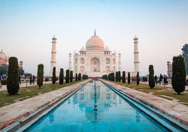 The Taj Mahal, Agra, with reflective pool