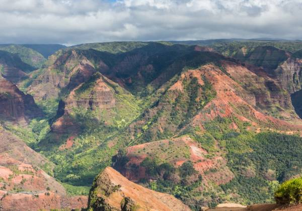 a canyon with Waimea Canyon State Park in the background