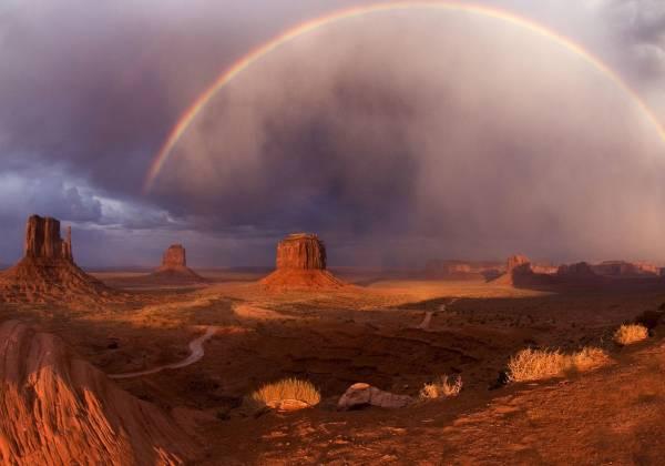 a rainbow in the desert