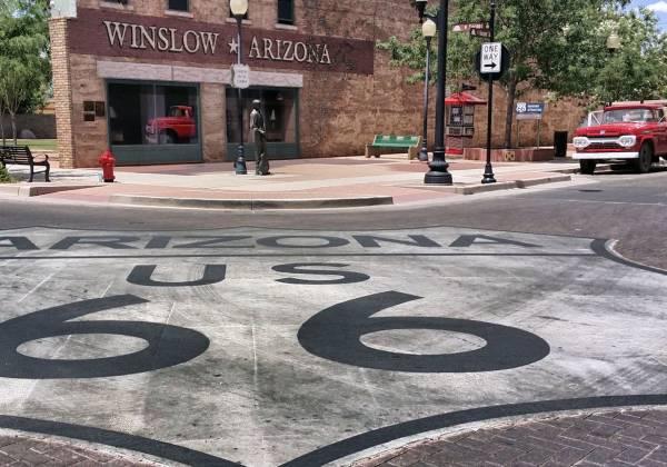 Winslow Corner Route Sign Cr Visit Arizona