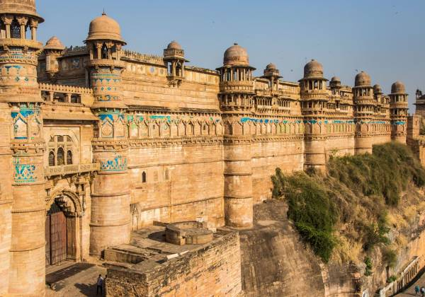 a castle on top of Gwalior Fort