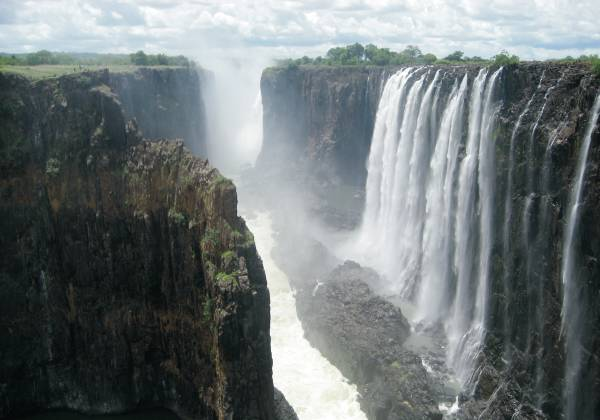 Victoria Falls with a mountain in the background