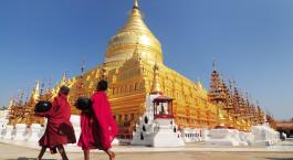 eine Person, die vor der Shwedagon-Pagode steht