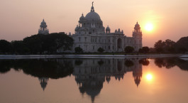 Victoria Memorial Hall over a body of water