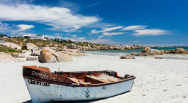 ein Boot, das auf einem Sandstrand sitzt
