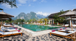Pool im Hotel Riverside Boutique in Laos