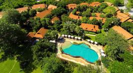 Vogelperspektive des Legend Chiang Rai Hotels in Chiang Rai, Thailand