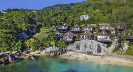 Auu00dfenansicht des Hilton Northolme Resort & Spa in Mahe, Seychellen