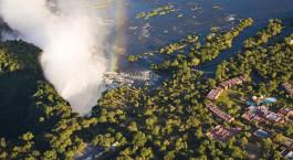 Vogelperspektive von dem Hotel Anantara Avani Victoria Falls Resort, Viktoriafu00e4lle, Sambia