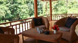 Terrasse im Hotel Nam Cang Riverside Lodge, Sa Pa in Vietnam