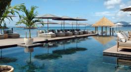 Poolbereich im Le Domaine de Lu2019Orangeraie Hotel in La Digue Island, Seychellen