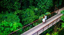 Couples enjoying scenery, Nayara Resort, Spa & Gardens, Arenal, Costa Rica, Central America