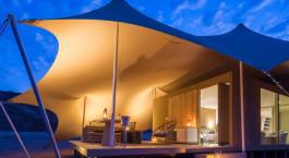 Auu00dfenansicht bei Nacht im Hoanib Camp, Skeleton Coast in Namibia