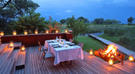 Dining at Xudum Camp in Okavango Delta, Botswana