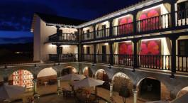 Exterior by night at El Mercado Tunqui in Cusco, Peru