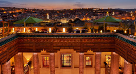 Roof top terrace at Riad Fes Hotel in Fes, Morocco