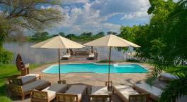 Pool at hotel Kanyemba Lodge in Lower Zambezi, Zambia