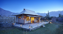 Exterior view of a guest tent at Chamba Camp, Diskit in Nubra Valley, Himalaya
