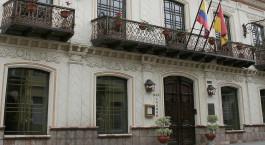 Auu00dfenansicht des Mansion Alcazar Hotel in Cuenca, Ecuador