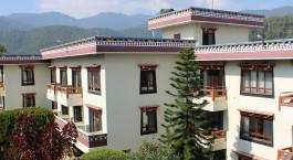 Auu00dfenansicht von Neydo Hotel, Pharping in Nepal