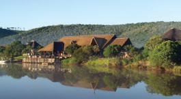 Ausblik von Kariega River Lodge in Eastern Cape Wildschutzgebiete, Su00fcdafrika