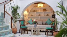 Lounge Bereich im Riad Chu00e9rifa in Chefchaouen, Marokko