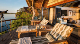 Zimmer mit Balkon der Chobe Water Villas, Chobe National Park, Botswana
