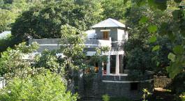 ein Haus mit Büschen vor einem Gebäude