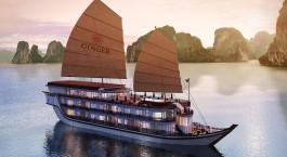 Auu00dfenansicht der Ginger Cruise Halong-Bucht, Halong Bucht in Vietnam
