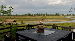 Auu00dfenansicht im Hotel Sapana Village Lodge in Chitwan, Nepal