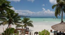 Blick auf den Strand im Hotel Le Duc De Praslin, Praslin Island in Seychellen
