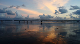 Scenic View Of Sea Against Sky During Sunset at Seminyak beach, Bali, Indonesia, Asia