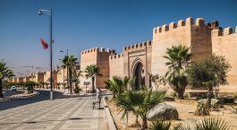 ein Gebäude mit Palmen