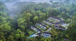 Blick auf die Stadt von der Spitze eines üppigen grünen Waldes